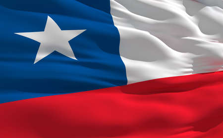 Fluttering flag of Chile on the wind photo