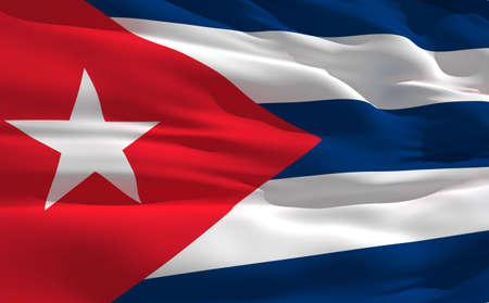 fluttering: Fluttering flag of Cuba on the wind Stock Photo