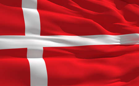 fluttering: Fluttering flag of denmark on the wind