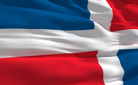 od: Fluttering flag od Dominican Republic on the wind Stock Photo