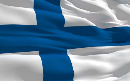 fluttering: Fluttering flag of Finland on the wind