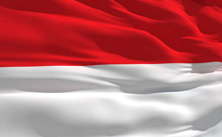 fluttering: Fluttering flag of Indonesie on the wind