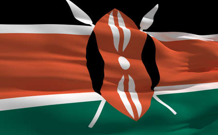 fluttering: Fluttering flag of Kenya on the wind