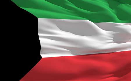 fluttering: Fluttering flag of Kuwait on the wind Stock Photo