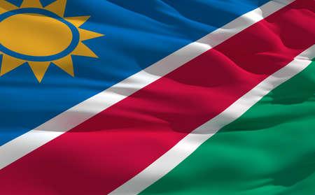 fluttering: Fluttering flag of Namibia on the wind
