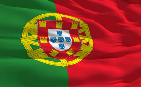Fluttering flag of Portugal on the wind photo