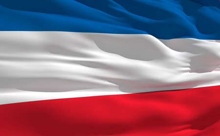 fluttering: Fluttering flag of Serbia on the wind