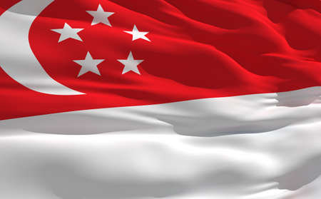 fluttering: Fluttering flag of Singapour on the wind Stock Photo
