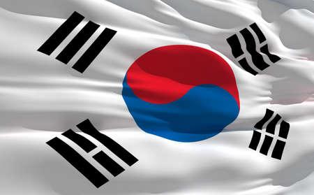 fluttering: Fluttering flag of South Korea on the wind
