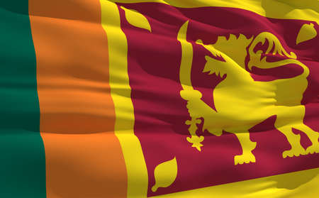 fluttering: Fluttering flag of Sri Lanka on the wind
