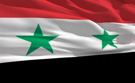 fluttering: Fluttering flag of Syria on the wind