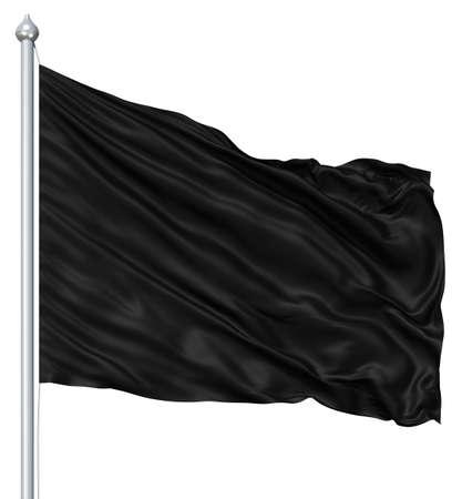 black satin: Black blank flag waving in the wind