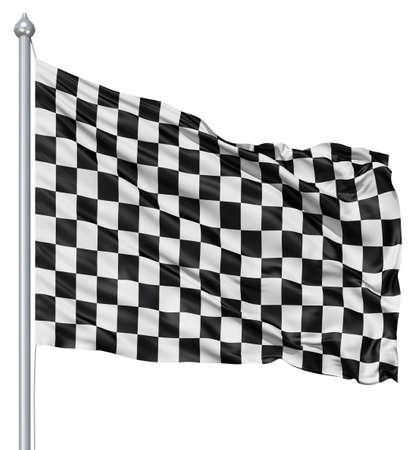 Checkered black and white flag Stock Photo - 12994801
