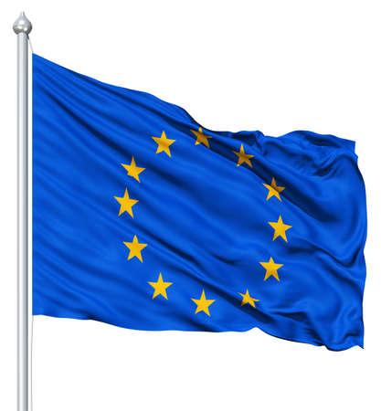 바람에 물결 치는 유럽 깃발
