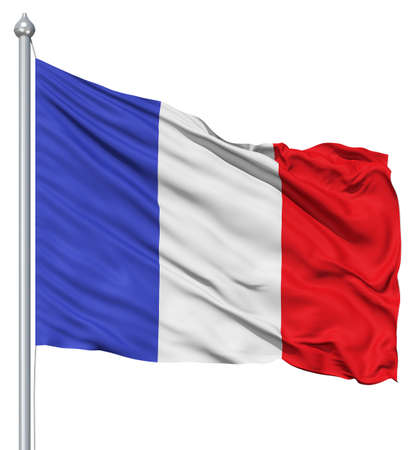 fluttering: France national flag waving in the wind Stock Photo
