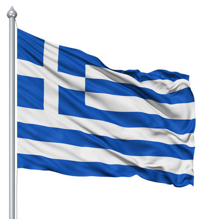 greece flag: Greece national flag waving in the wind Stock Photo