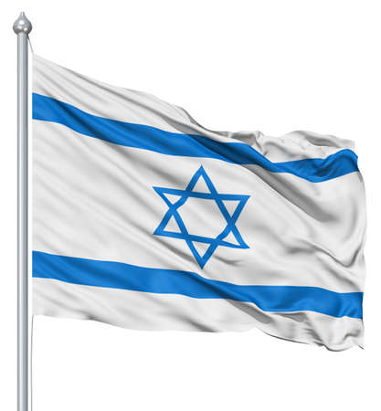 Israel national flag waving in the wind photo