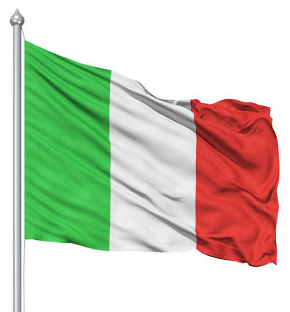 Italy national flag waving in the wind 스톡 콘텐츠