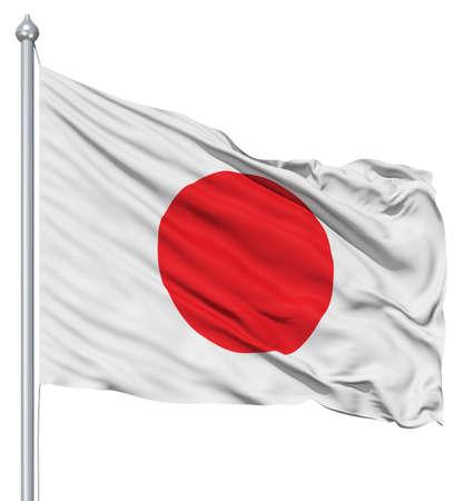 bandera japon: Bandera nacional de Jap�n ondeando en el viento
