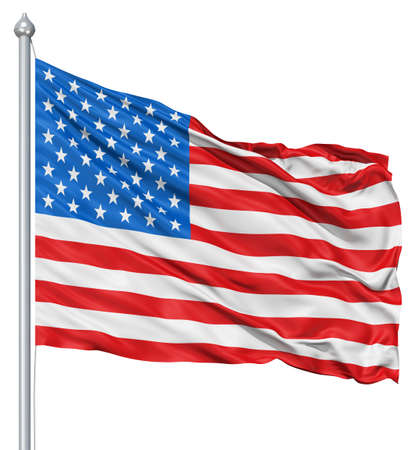 fluttering: USA national flag waving in the wind