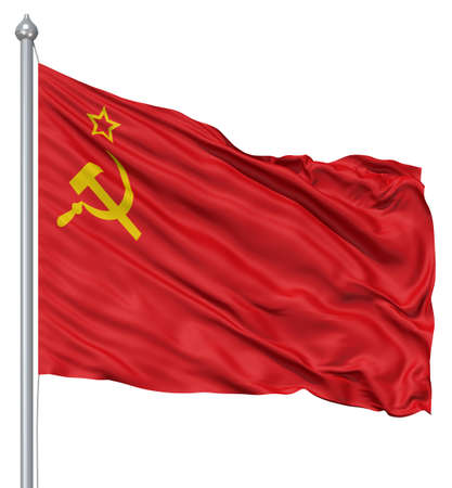 red flag: USSR national flag waving in the wind