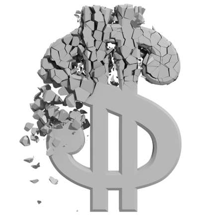 crumbling: Rendered image of Dollar sign crumbling isolated on white