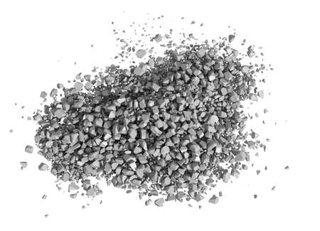 demolition: Rock rubble and pebbles in a small pile isolated on a white background Stock Photo