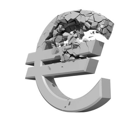 downfall: Rendered image of a crumbling Euro symbol isolated on a white backgroun