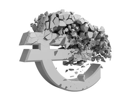 eurozone: Rendered image of a crumbling Euro symbol isolated on a white backgroun
