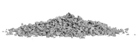 Rock rubble and pebbles in a small pile isolated on a white background Stock Photo