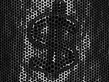 r�p�titif: R�sum� de fond d'une grille m�tallique en acier inoxydable brillant avec des lignes r�p�titives de perfor�es trous circulaires
