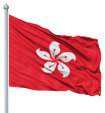 red flag: Realistic 3d flag of Hong Kong fluttering in the wind