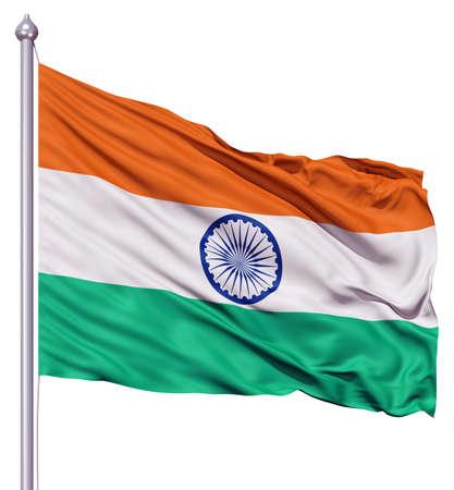 bandera de LA INDIA: Bandera realista en 3D de la India que ondeaba al viento