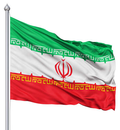 Realistic 3d flag of Iran fluttering in the wind  photo