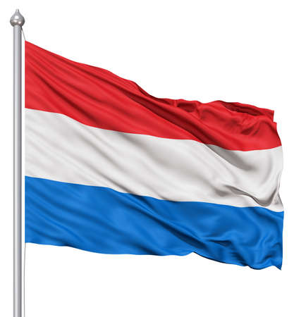 Realistic 3d flag of Netherlands fluttering in the wind  Stock Photo