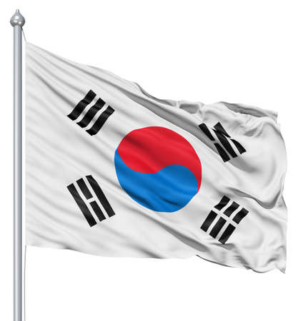 Realistic 3d flag of South Korea fluttering in the wind  스톡 콘텐츠