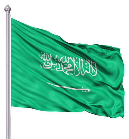 arabia: Realistic 3d flag of Saudi Arabia fluttering in the wind