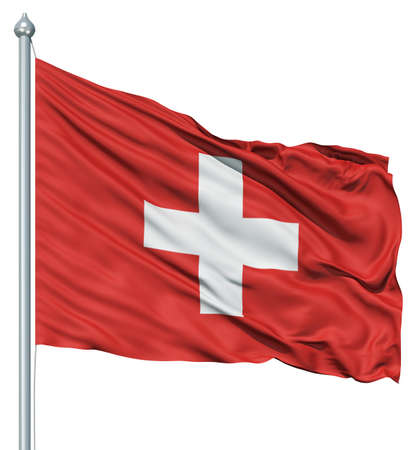 Realistic 3d flag of Switzerland fluttering in the wind