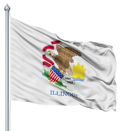 fluttering: Realistic 3d flag of United States of America Illinois fluttering in the wind