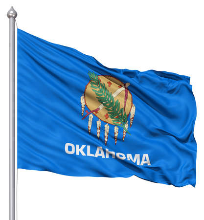 fluttering: Realistic 3d flag of United States of America Oklahoma fluttering in the wind