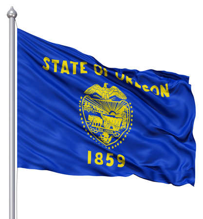 state of oregon: Realistic 3d flag of United States of America Oregon fluttering in the wind