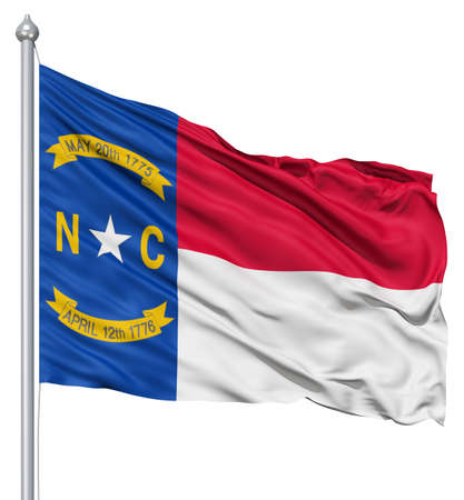 Realistic 3d flag of United States of America North Carolina fluttering in the wind