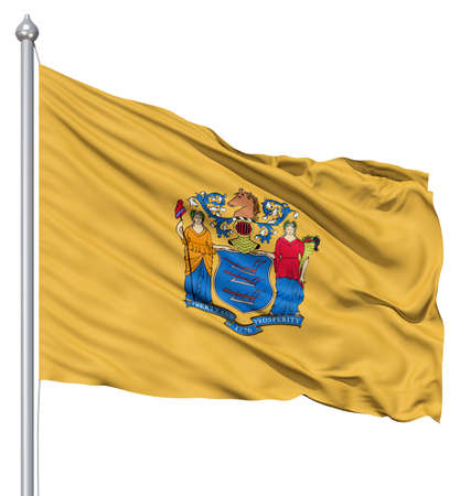new jersey: Realistic 3d flag of United States of America New Jersey fluttering in the wind