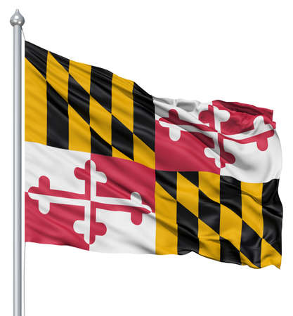 Realistic 3d flag of United States of America Maryland fluttering in the wind  photo