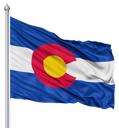colorado state: Realistic 3d flag of United States of America Colorado fluttering in the wind  Stock Photo