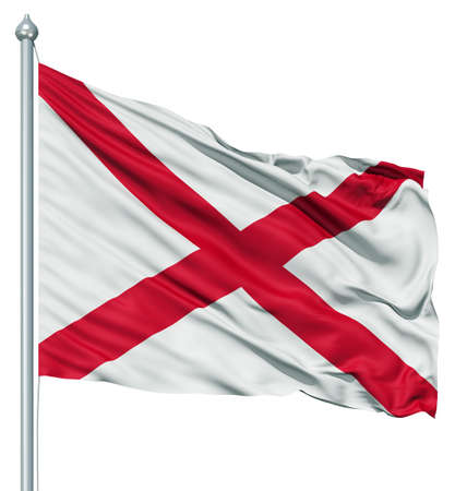 alabama: Realistic 3d flag of United States of America Alabama fluttering in the wind