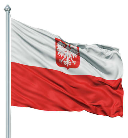 fluttering: Realistic 3d flag of Poland fluttering in the wind