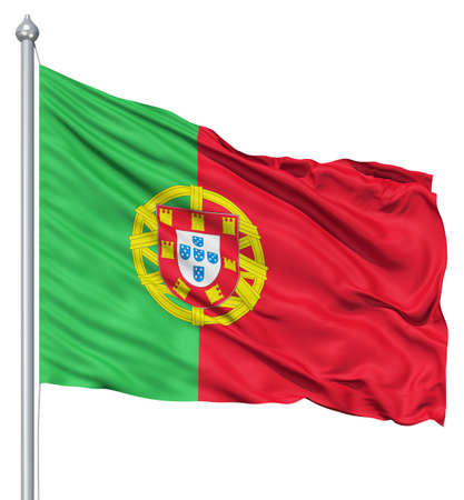 fluttering: Realistic 3d flag of Portugal fluttering in the wind
