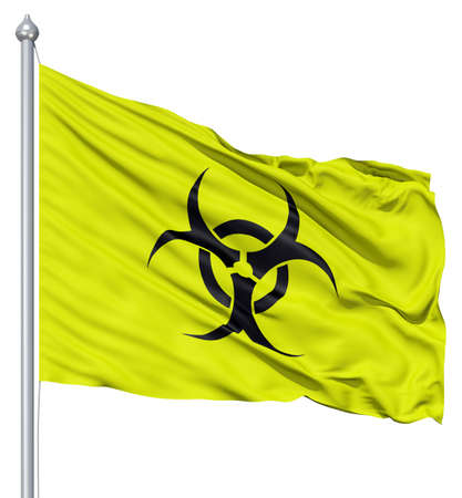 Realistic 3d flag of Radiation fluttering in the wind  photo