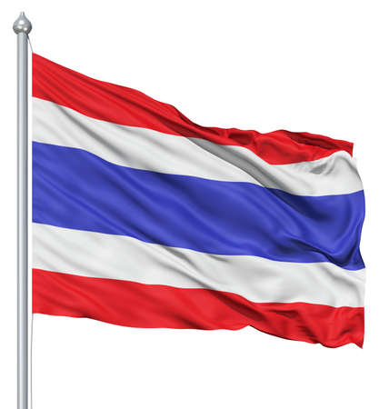 Realistic 3d flag of Thailande fluttering in the wind  photo